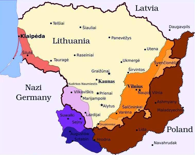 Additions to Lithuanian Territory - 1940