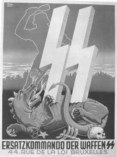 Waffen SS Poste Against Jews and Communists