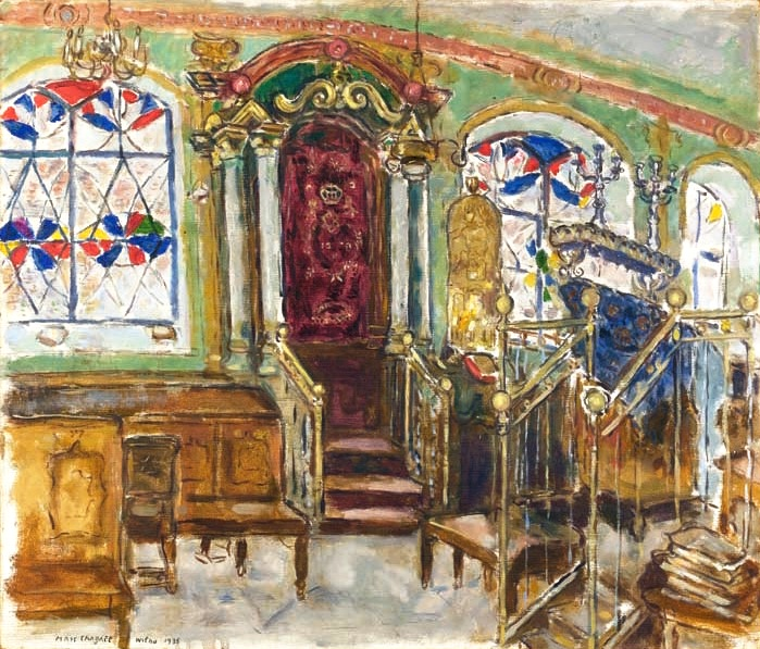 The interior of the Gaon's Kloyz painted by Mark Chagall in 1935.