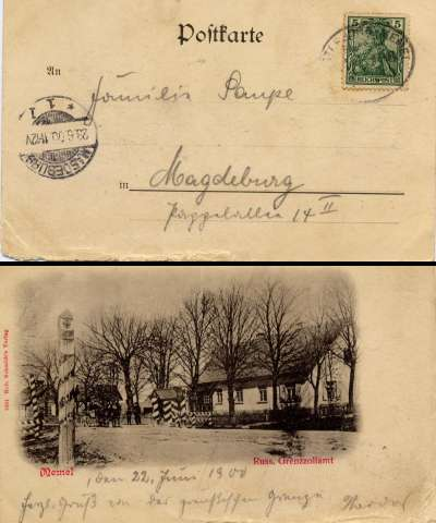 Postcard from Kretinga-Memel Border Customs Posr