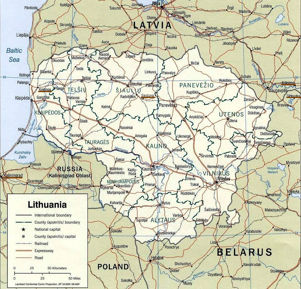 Lithuania - Family Locations Underlined