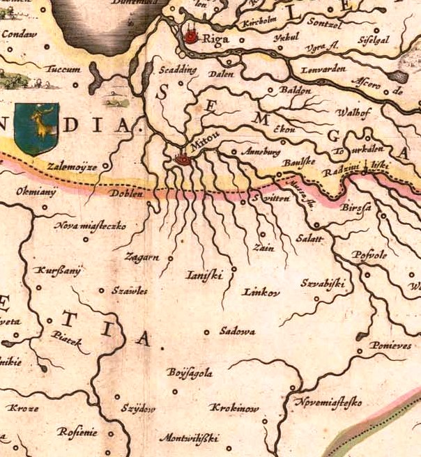 Detail of Livonia Map - 'Sadowa' at Centre