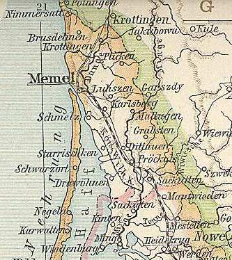 Map of East Prussia 1890 - detail