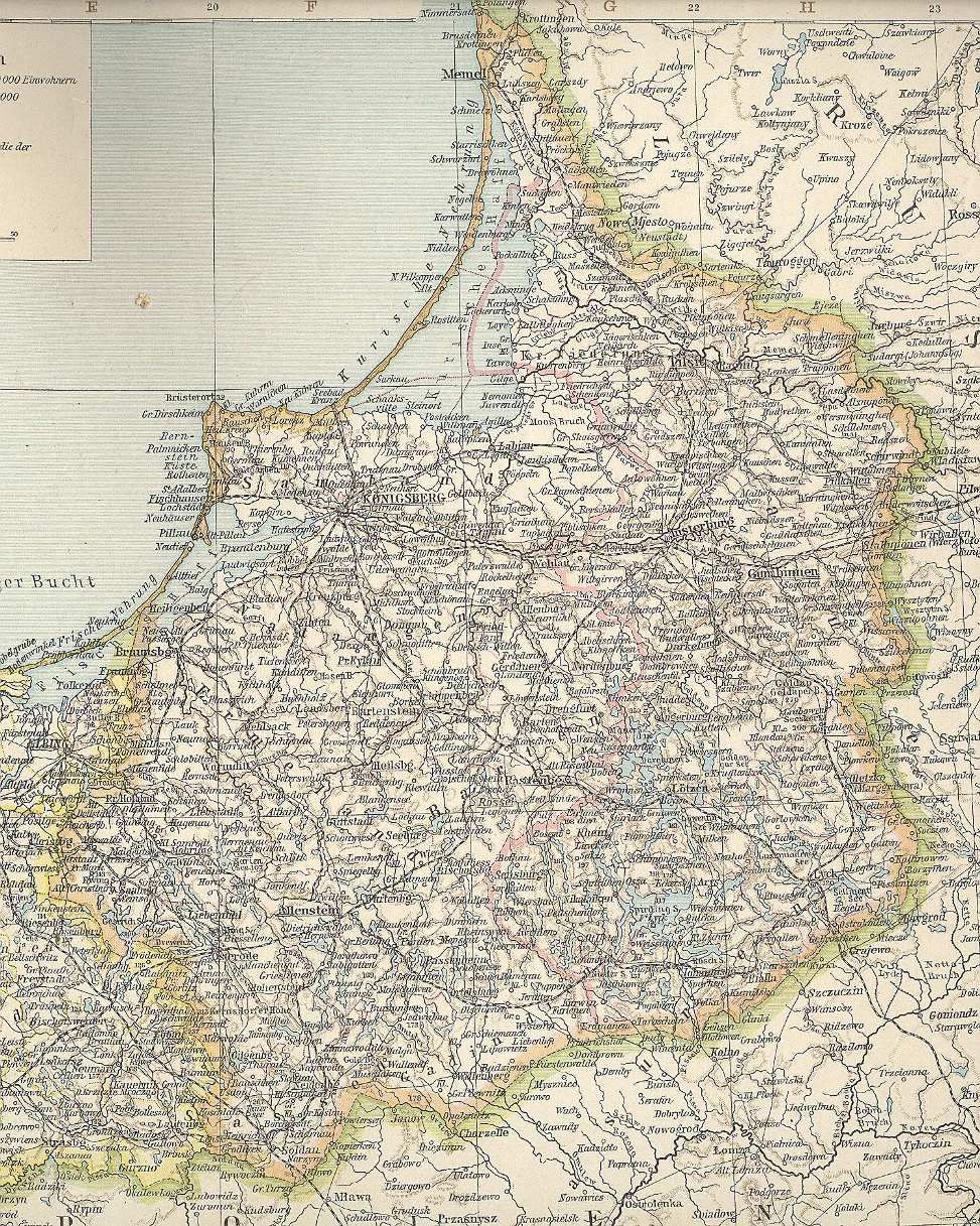 Map of East Prussia 1890